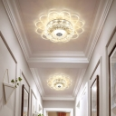 Contemporary Blossom Clear Crystal Flush Light LED Ceiling Lighting in Warm/White/Multi Color Light