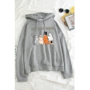 Womens Trendy Bear Graphic Long Sleeve Drawstring Pouch Pocket Loose Fit Hoodie