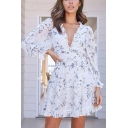 Gorgeous Womens Allover Floral Printed Long Sleeve Stringy Selvedge V-neck Short Pleated A-line Dress