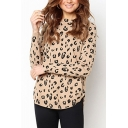 Leopard Print Long Sleeve Crew Neck Curved Hem Relaxed Fit Casual T Shirt in Khaki