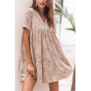 Casual Womens Leopard Printed Short Sleeve V-neck Ruffled Short Pleated Swing Dress in Apricot