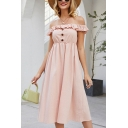 Pretty Womens Pink Stringy Selvedge Off the Shoulder Button up Mid A-line Dress