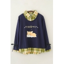 Fashionable Girls Korean Letter Dog Graphic Plaid Print Patchwork Tied Long Sleeve Polo Collar Relaxed Sweatshirt