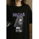 Popular Letter Rdchs Comic Character Graphic Short Sleeve Crew Neck Relaxed Tee Top for Women