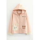 Popular Womens Japanese Letter Rabbit Embroidered Contrasted Zip Up Relaxed Fit Jacket