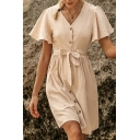 Apricot Novelty Solid Color Bow Tie Waist Button up V Neck Ruffle Sleeves Mini A-Line Dress for Women