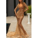 Unique Sequins See-through Long Sleeve Sweetheart Neck Maxi Fishtail Dressing Gown in Gold