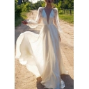 Boutique Ladies Satin Sheer Lace Puff Long Sleeve Plunging Neck Long Flowy Gown in White