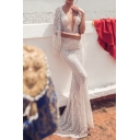 Boutique Womens See-through Hollow-out Deep V-neck Backless Maxi Fishtail Dressing Gown in White