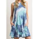 Popular Tie Dye Printed Sleeveless Crew Neck Short A-line Tank Dress
