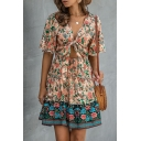 Sexy Womens Color Block Floral Print Tie Front Cut Out V Neck Short Ruffle Sleeve Short A-Line Dress