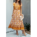 Rustic Womens Floral Printed Button Drawstring Pleated V Neck Short Sleeve Maxi A-line Dress