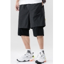 Stylish Mens Shorts Letter Printed Applique Pocket Drawstring Mid Rise Regular Fit Fake Two Piece Shorts