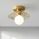 Brass 1 Light Semi-Flush Mount Rural Style Opal Glass Ball Ceiling Flush with Dome-Shape Net Deco