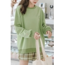Popular Avocado Graphic Embroidery Round Neck Full Sleeve Loose Fit Pullover Sweatshirt