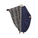 Moslem Fashion Round Neck Batwing Sleeve Leopard Panelled Knit Shift Asymmetrical Maxi Dress