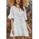 Pretty Ladies Patchwork Tassel Ruffled Keyhole Tie Neck Flare Cuff Sleeve Mini Swing Tiered Dress in White