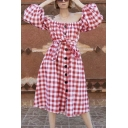 Gorgeous Womens Checkered Printed Puff Sleeve Off the Shoulder Button Up Tied Waist Mid A-line Smock Dress in Red