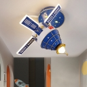 Metallic Spacecraft Flush Mount Fixture Cartoon LED Blue Flushmount Lighting for Kids Room