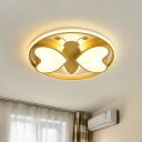 Pink/Blue/Gold Dragonfly Flush Mount Lamp Cartoon LED Metallic Flushmount Lighting for Kids Bedroom