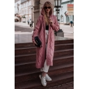 Popular Womens Solid Color Cable Knitted Long Sleeve Hooded Long Loose Cardigan