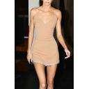 Sexy Apricot Rhinestone Straps V-neck Fringe Hem Mini A-line Slip Dress for Ladies