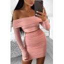 Stylish Long Sleeve Off the Shoulder Fit Crop T Shirt & Ruched Mini Bodycon Skirt Set in Pink