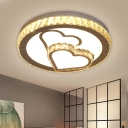 Crystal Block Round Flush Mount Fixture Simple LED Close to Ceiling Lamp in Chrome with Loving Heart Pattern, Warm/White Light