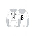 Fashion White Number Footprint Graphic Contrasted Panel Long Sleeve Drawstring Relaxed Fit Hoodie