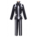Cool Anime Costume Contrasted Long Sleeve Stand Collar Relaxed Jacket & Long Striped Straight Pants Set in Black
