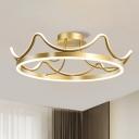 Modern Crown LED Semi Mount Lighting Metal Sleeping Room Close to Ceiling Lamp in Pink/Gold