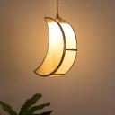 Moon Suspended Lighting Fixture Nordic Tan Glass 1-Light Sleeping Room Pendant Lamp in Gold