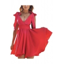 Gorgeous Womens Solid Color Bow Tied Shoulder Surplice Neck Short Pleated A-line Tank Dress in Red