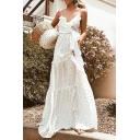 Gorgeous Ladies Polka Dot Printed Spaghetti Straps Ruffled Bow Tied Waist Maxi A-line Slip Dress in White