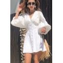 Popular Womens Hollow out Blouson Sleeve Deep V-neck Button Up Short A-line Dress in White