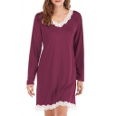 Simple Solid Color Lace Patchwork V Neck Long Sleeve Oversized Mini T Shirt Dress for Women