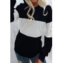 Fashionable Color Block Pocket Long Sleeve Regular Fit Hooded Sweatshirt