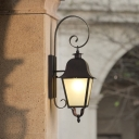 1 Light Wall Lamp Sconce Factory Patio Scrolled Wall Lighting with Pavilion Frosted Glass Shade in Black
