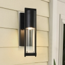 1-Bulb Wall Sconce Farmhouse Tubular Clear Glass Wall Mounted Light in Black/Brass for Outdoor