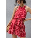 Pretty Allover Heart Pattern Sleeveless Crew Neck Ruffled Tiered Short Pleated A-line Dress in Red