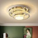 Circle Semi Flush Ceiling Light Simple Beveled Crystal LED Chrome Lighting Fixture in Warm/White Light