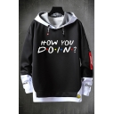 Cool Mens Hooded Sweatshirt Letter How You Doin Printed False Two Pieces Ribbon Detail Drawstring Long Sleeve Regular Fit Hooded Sweatshirt