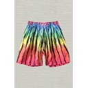 Mens Shorts Chic Colorblock Irregular Striped Pattern Drawstring Waist Regular Fitted Relaxed Shorts