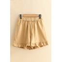 Fancy Ladies Shorts Solid Color Elastic Stringy Selvedge Mid Rise Loose Fitted Shorts