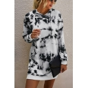 Popular Womens Tie Dye Printed Long Sleeve Drawstring Short Shift Hoodie Dress in White