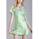 Fancy Sheer Mesh Patchwork Floral Embroidery Keyhole Tie Neck Short Sleeve Mini Swing Nightdress for Women