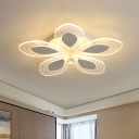 Clear Crystal Floral Ceiling Lighting Contemporary LED Semi Flush Mount Light in Chrome