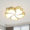 Blossom Flush Mount Fixture Modern Style Faceted Crystal LED Gold Ceiling Lamp for Bedroom