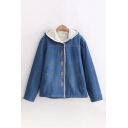 Cat Embroidered Sherpa Lined Long Sleeve Button Front Denim Coat