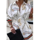 Trendy Womens Chain Printed Gathered Waist Button Up Turn-down Collar Bishop Long Sleeve Fitted Tunic Shirt